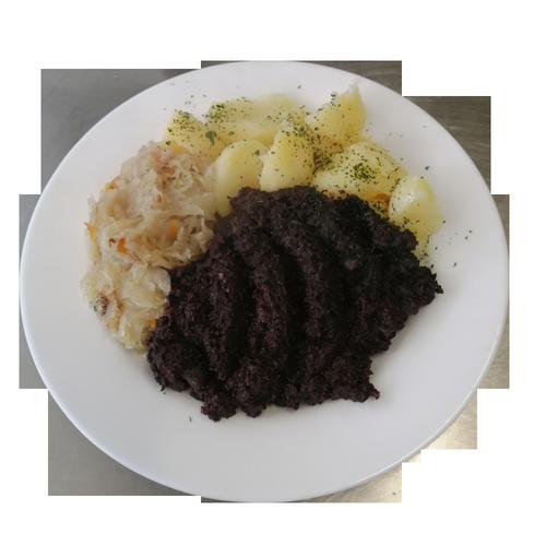 Vogtland-Garten Plauen - Blut mit Sauerkraut Kartoffeln